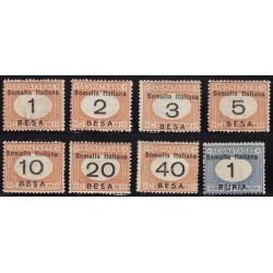 1923 Segnatasse d'Italia del 1890 soprastampati SOMALIA ITALIANA e valore in moneta somala