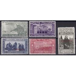 1926 San Francesco. Francobolli d'Italia n. 192,194,195,197 e 199 soprastampati (il n. 32 in colore cambiato)