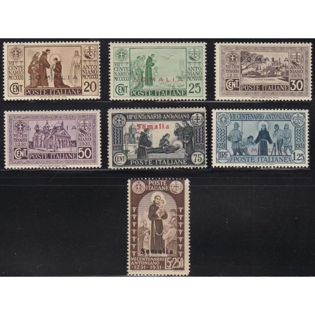 1931 S. Antonio. Francobolli d'Italia n. 292-98 in colori cambiati, soprastampati