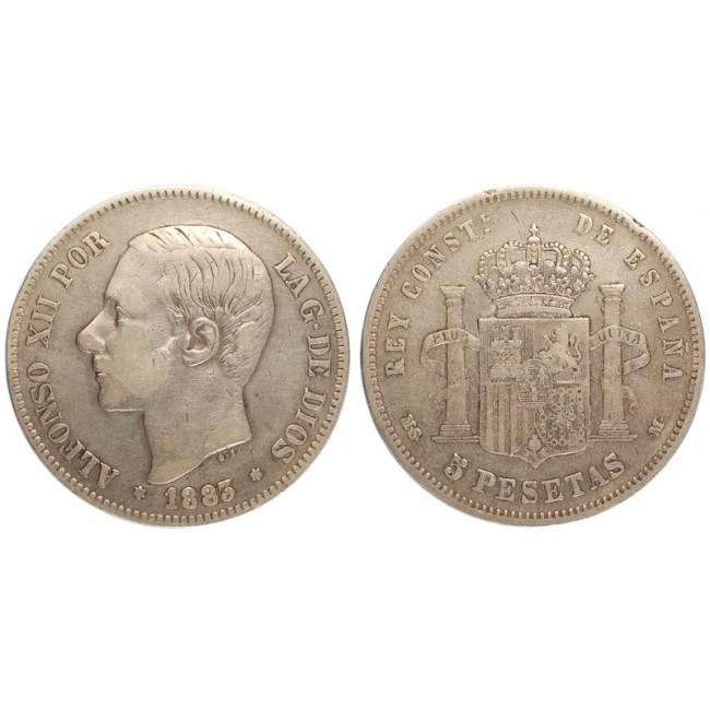 Spagna 5 Pesetas 1883