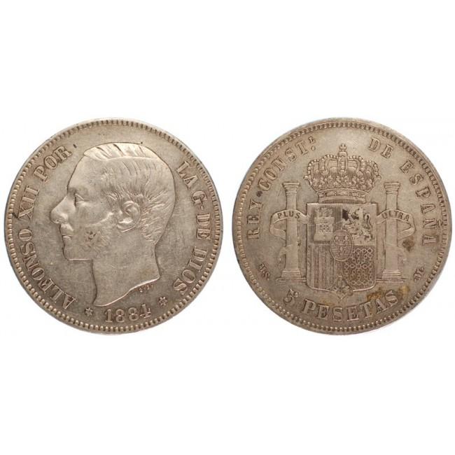 Spagna 5 Pesetas 1884