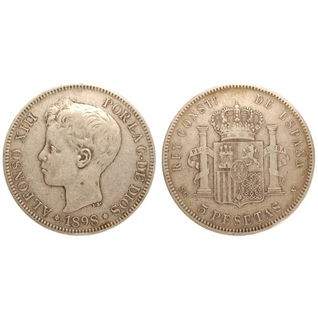 Spagna 5 Pesetas 1898