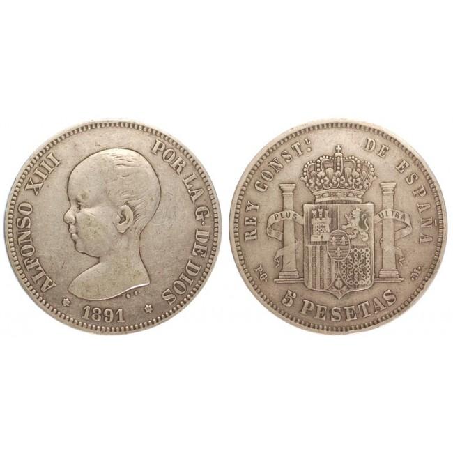 Spagna 5 Pesetas 1891